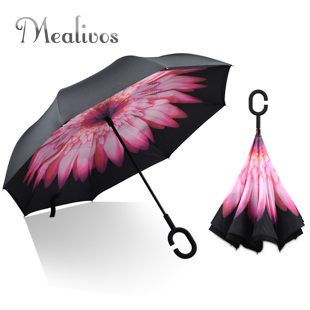 Mealivos Windproof Reverse Folding Double Layer Inverted Chuva Self Stand Rain Protection C-Hook Hands For Car Umbrella