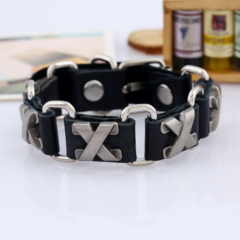 Fashion Jewelry X Stainless Steel Leather Bracelet Men Casual Genuine Leather Woven Bracelets & Bangles Vintage Punk Bracelet