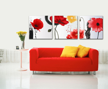3 Pieces Canvas Picture Art Oil Painting Home Decoration paintings Print Flower for Living Room Framed PJMT-44