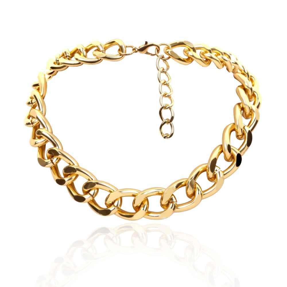 Ingemark Punk Miami kubański Choker naszyjnik Choker komunikat Hip Hop duży masywny aluminium złoty gruby łańcuch naszyjnik kobiety biżuteria