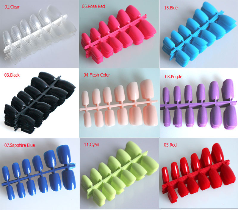 15 Colors! 120pcs Short Design Fake Nails Faux Ongles Full Cover ...