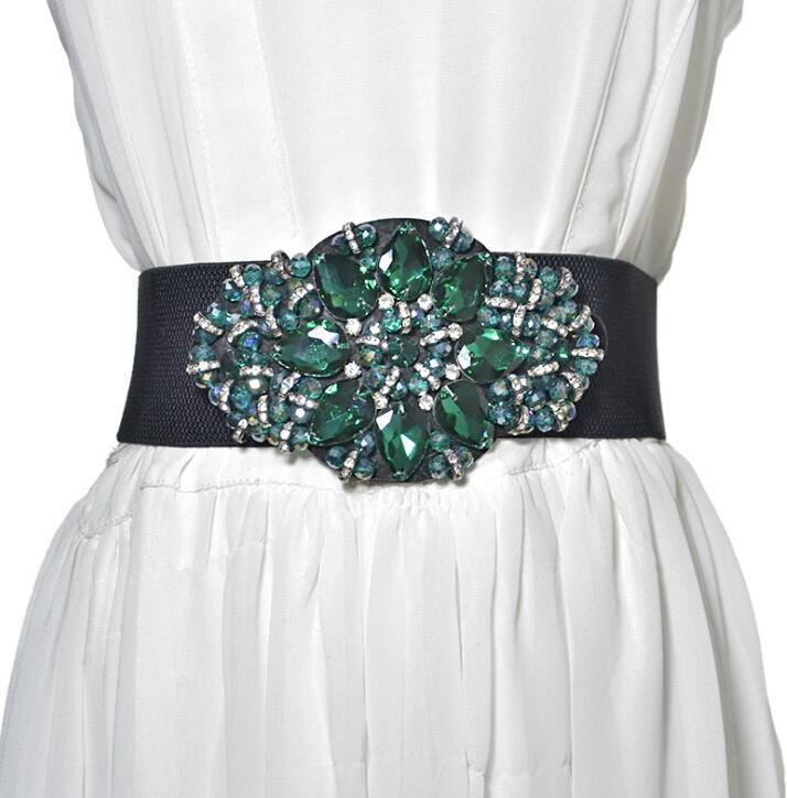 Women's Runway Fashion Rhinestone Beaded Elastic Cummerbunds Female Dress Corsets Waistband Belts Decoration Wide Belt R1386