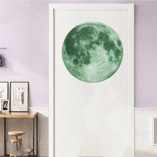 30cm Luminous Moon 3D Wall Sticker for kids room living room bedroom decoration home decals Glow in the dark Wall Stickers 5
