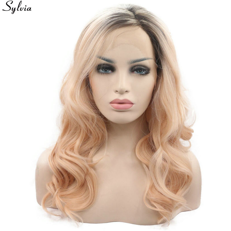 Sylvia Heat Resistant Fiber Two Tone Brown Ombre Orange Peach 18 24 Curly Side Parting Synthetic