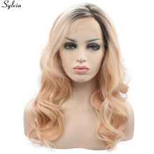 Sylvia Heat Resistant Fiber Two Tone Brown Ombre Orange Peach 18″-24″ Curly Side Parting Synthetic Lace Front Wig Free Shipping