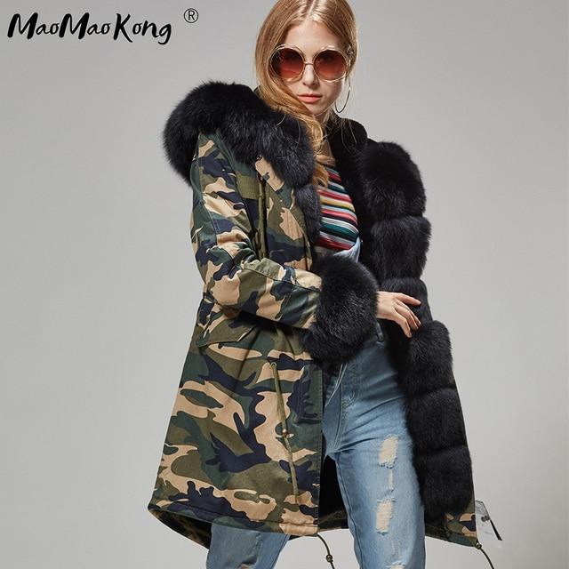 Mao mao kong hiver femme noir moyen vestes outwear épais parkas naturel réel fourrure de renard manteau veste femme manteau de fourrure femme 4