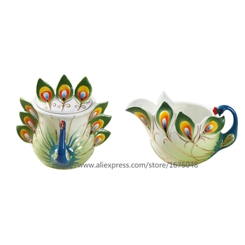 2019 Chinese Style Coffee Cups Peacock milk and sugar teapot,coffee teaset Porcelain Enamel Chinese  Ceramic Coffee Cup
