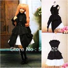 V-1097 Schwarz Gothic Schule Lolita Kleid/viktorianischen kleid Cocktailkleid/halloween-kostüm US6-26 XS-6XL