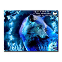 Fantasy Wolf diy 3d diamond mosaic painting animal Wolves rhinestones felt needle felting wool crystal home decorative 40x30cm