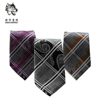New Free Shipping fashion Men's male Tie narrow Korean students dress black purple Plaid business British occupation groom