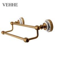 VEHHE European Style Vintage Copper Plating Bath Towel Holder Bathroom Fixture Bars Towel Racks Towel Bars Accessories