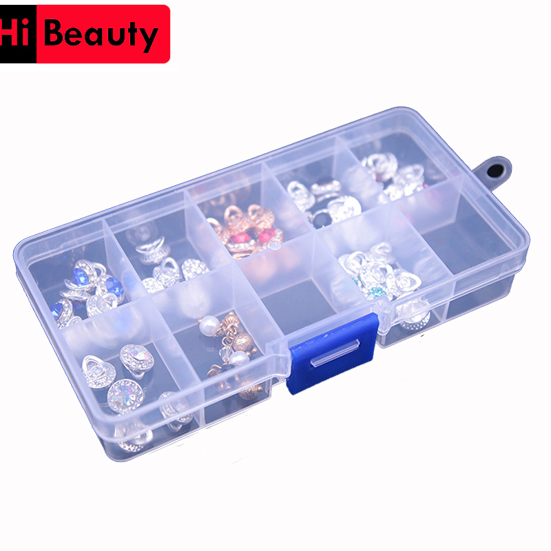 10 Grid Plastic Transparent Jewelry Medicine Pills Nail Art Tips Storage Showing Organizer Container Display Box Case Holder
