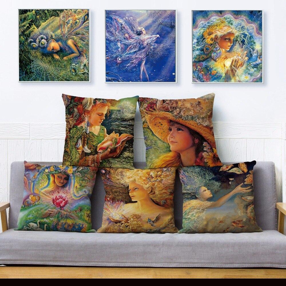 Josephine Wall Fantasy Heaven Elf Girl Print Pillow Cover 45*45 Textile Cushion Covers Linen Pillow Case Car Decor Pillows Cases