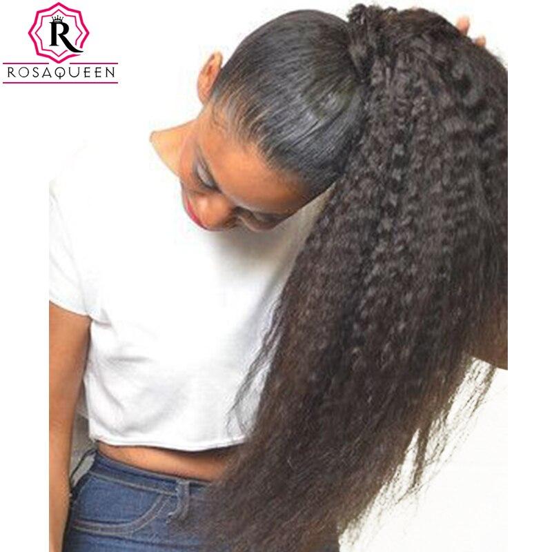 Странный прямо хвост для Для женщин природных грубой яки Волосы remy цельнокроеное платье клип в хвостики черный 100% человеческих волос Роза ...