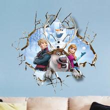 Cartoon Frozen 2 Kids Room naklejki 3D śnieg Puzzle dekoracje przedszkole naklejki ścienne pcv Pegatinas Autocollant Enfant naklejka tanie tanio Disney CN (pochodzenie) Płaska naklejka ścienna Na ścianę Naklejki na meble Do płytek Jednoczęściowy pakiet WALL