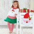 5 Jogos/lote Tamanho 80-120 Meninas Outono Conjuntos De Roupa de Natal de Santa Roupas Dos Desenhos Animados Manga Longa Babados Camisa Branca + Dot Pantskirt
