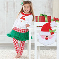 5 Sets/Lot Size 80-120 Autumn Girls Christmas Clothing Sets Long Sleeve Cartoon Santa Outfits White Ruffles Shirt+Dot Pantskirt