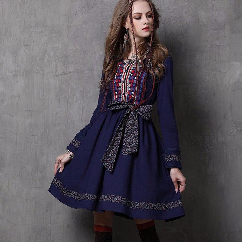 Embroidery Women Dresses Ladies 2018 Party Elegant Club Retro Vintage Denim Evening Gothic Boho Long Sleeve Autumn runway Dress