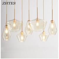 Modern Minimalism LED glass Pendant light parlor Retro champagne clear hung lamp Restaurant hotel Bar living room