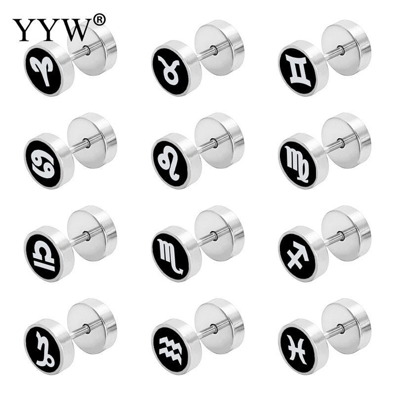 2017 New Stainless Steel Stud Earrings Men Women Punk 12 Zodiac Constellation symbols Stainless Steel Ear Piercing Jewelry