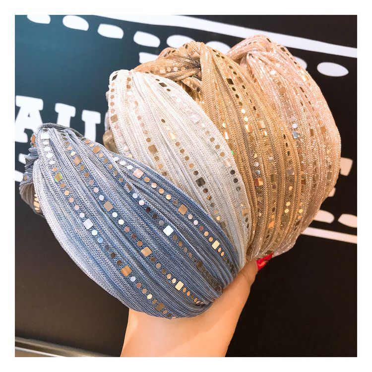 Women Charming Elegant Wide Hair Accessory Temperamental Lace Sequins Hair Band Hoop Headband Hair Accessory Fashion   Headwear