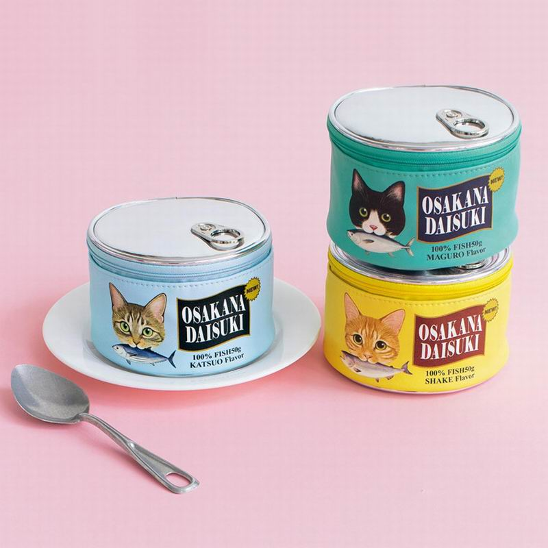 Cat Food Can Makeup Pouch Women Fish Can