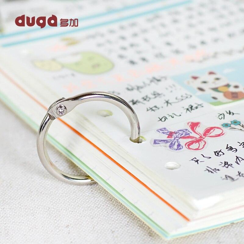 30Pcs Staple Notebook Binder 30mm Outer Diameter Loose-Leaf Ring Keychain Hinged Circlip Ring Album Scrapbook Craft