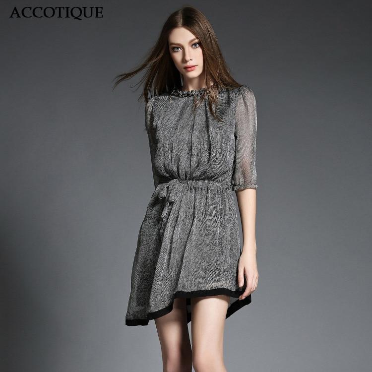높은 품질 새로운 여름 여성 불규칙한 헴 슬림 드레스 여성 실크 우아한 짧은 소매 패치 워크 o 넥 캐주얼 드레스-에서드레스부터 여성 의류 의  그룹 1