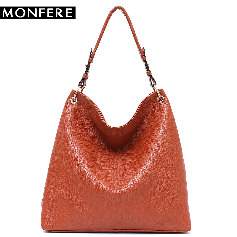 1a45c5b26c MONFERE Genuine Leather Hobo Bags Women Large Soft Cow Leather  Shoulder Messenger Bag Female Luxury Leather High
