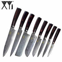 New Brand VG10 Damascus Steel Knife 8 Pcs Set Color Wood Handle Japanese Steel Kitchen Knife Hot Sale Professional Knives Set