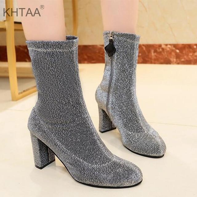 عالية الكعب منتصف العجل النساء الأحذية سستة الشتاء الأوروبية سترتش أحذية مثيرة للإناث الأزياء 2018 الخريف أحذية نسائية