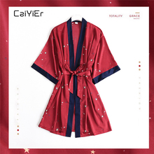 Caiyier Bridesmaid Robe Silk Satin Nightgown Red Stars Bathrobe Sleepwear New 2019 Ladies Sexy Wedding Brid Robes Dressing