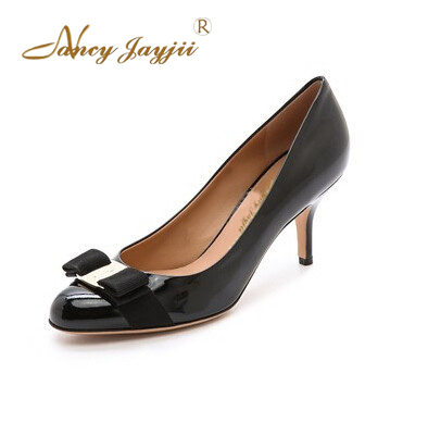 ФОТО Nancyjayjii Women New Classic Rounded-Toe Pumps Shoes For Woman,Crafted In Sleek Patent Leather Black,Dress,Large Size 4.5-14.