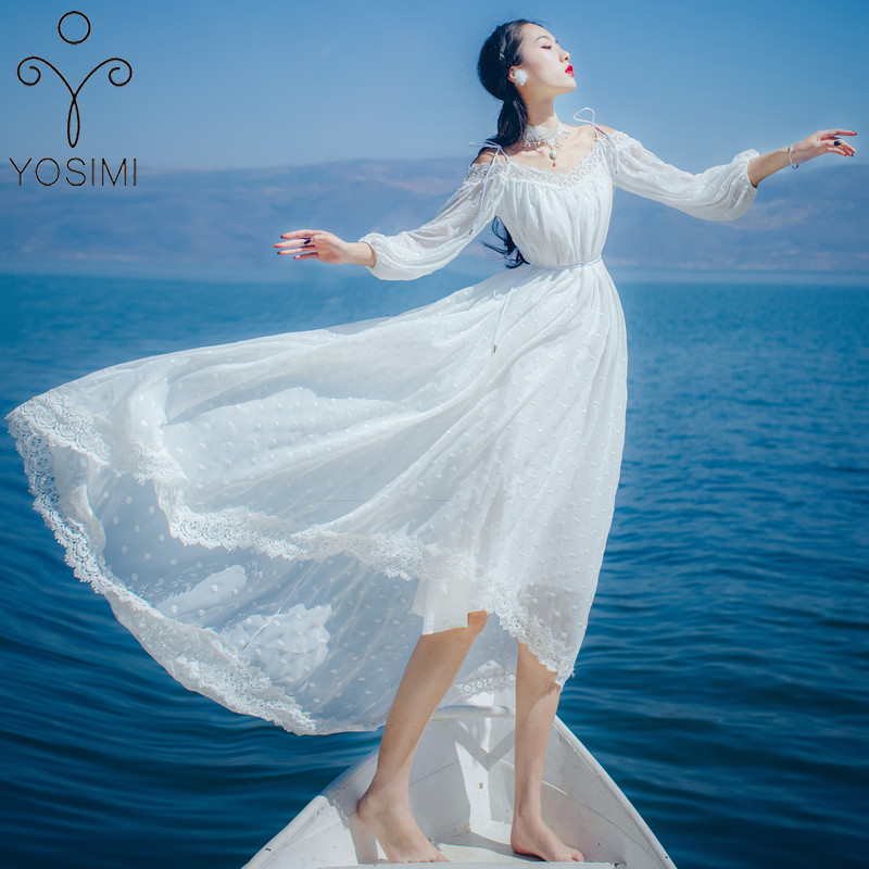 YOSIMI 2019 Summer Vestidos Maxi Lace Long Women Dress Chiffon White Dress Elegant Fairy Evening Party Off The Shoulder Dresses