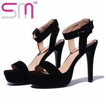 Nubuck Leather Sexy Women's Sandals Fashion Peep Toe Shoes Woman Popular Platform Shoes Spike High Heels Summer Shoes