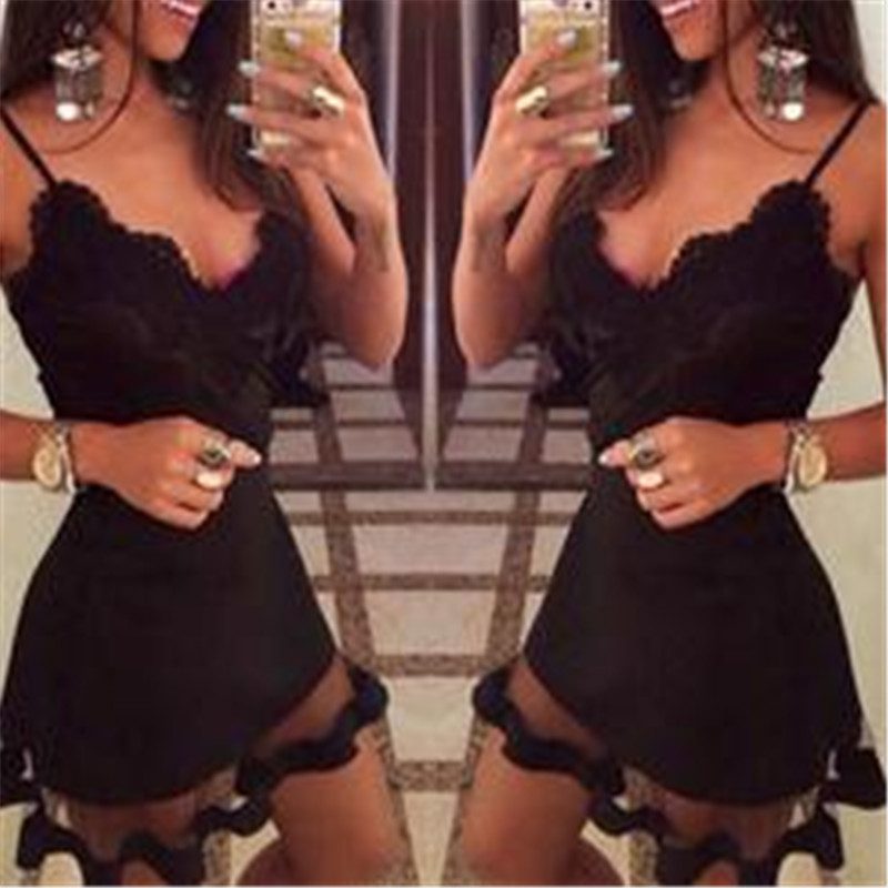 <font><b>2019</b></font> Women <font><b>Sexy</b></font> V Neck <font><b>Sleeveless</b></font> <font><b>Bodycon</b></font> <font><b>Dress</b></font> Party Night Crochet Lace Ladies Club Short <font><b>Sexy</b></font> Mini <font><b>Black</b></font> <font><b>Dress</b></font> Fashion New image