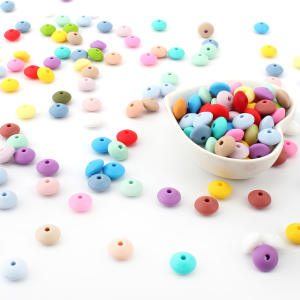 Silicone Necklace Pendant Lentil Diy Baby Grow 12mm Keep Food-Grade 50pcs