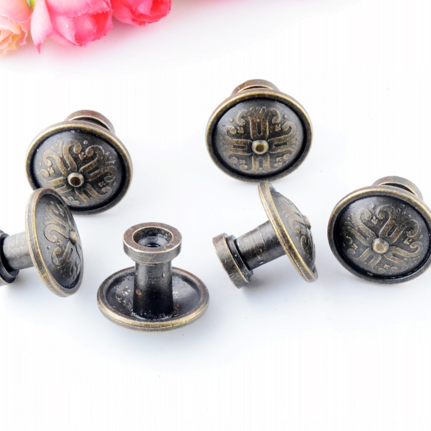 Free Shipping 4PCs Jewelry Wooden Box Pull Handle Dresser Drawer For Cabinet Door Round Antique Bronze 26x22mm J3143 200pcs 18 15mm hinge brass bronze color flat wholesale small hardware for wooden box case cabinet drawer door funiture fix