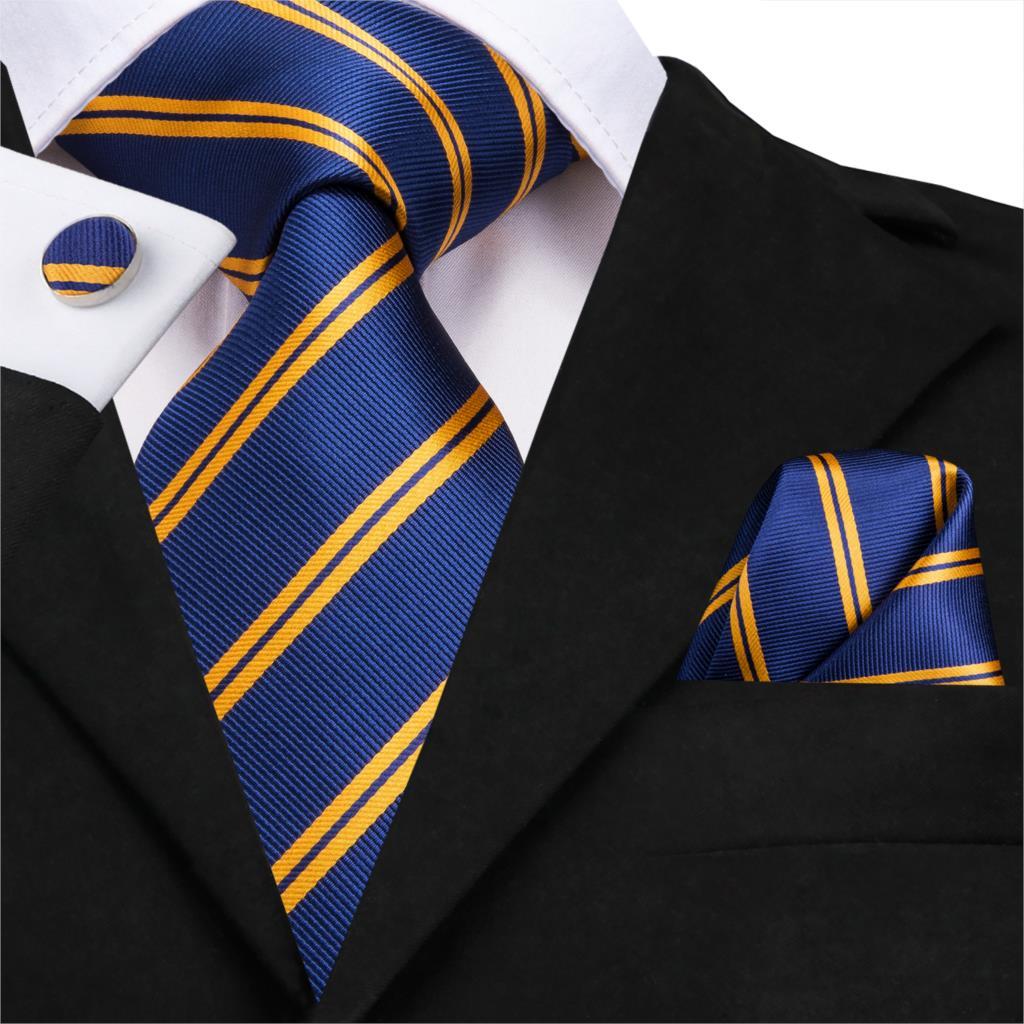 SN-3136 New Gold Blue Striped Tie Silk Woven Men Tie Necktie Hanky Cufflinks Set Luxury Men's Party Wedding Pocket Square Tie