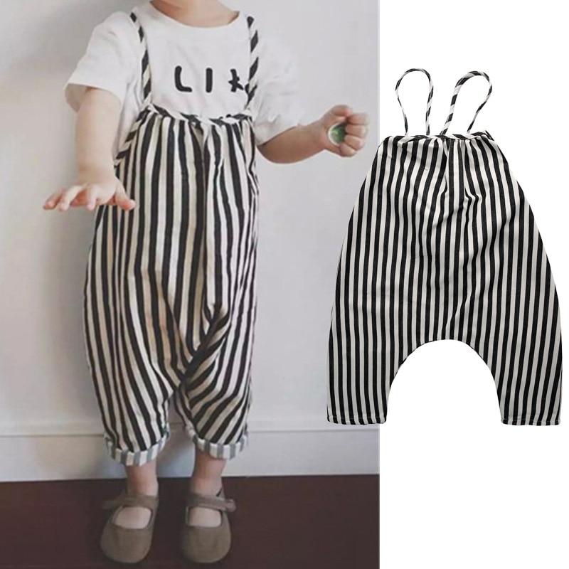 0-4T Chiffon Newborn Baby Boys Bib Pants Toddler Straps Striped Long Pants Romper Summer  Overalls Harem Pants