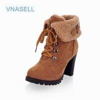 2017 phụ nữ new bốt cao gót chân một nửa mắt cá chân ngắn khởi động mùa đông martin tuyết botas giày dép ấm gót khởi động giày size32 33 42 43