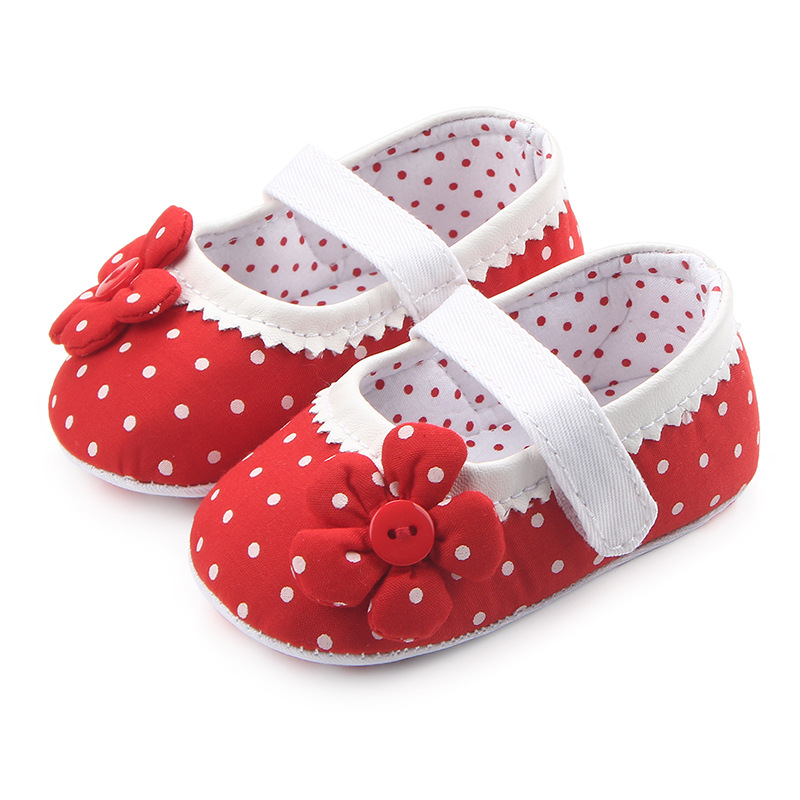 Classic Children Baby Kids Boy Girl Dot Flower Floor Shoes Autumn Fashion Non-Slip Soft Toddlers First Walkers