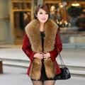 2016 Autumn Genuine Real Rabbit Fur Coat Raccoon Fur Collar Slim Waist Winter Women Fur Outerwear Coats Lady Jacket 3XL 4XL 0706