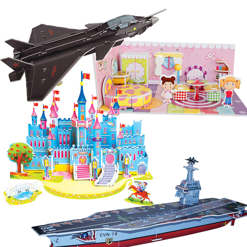 3D DIY Puzzle Jigsaw Model Castle Cartoon House Assembly Paper Froth Environment Safety Toys For Kids Gift Aircraft Carrier Tank