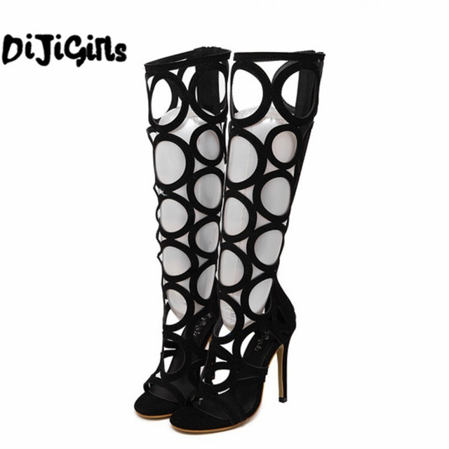 black gold sexy women summer knee high boots gladiator rome holes cut out open toe sandals party clubwear shoes pumps high heels