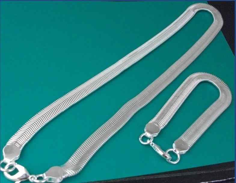 S084ค้าขายส่งเครื่องประดับแฟชั่นขายส่ง925แบรนด์925 S Ilver J Ewelryชุด,ชุดเครื่องประดับ6มิลลิเมตรแบนงูกระดูกชุดเครื่องประดับ