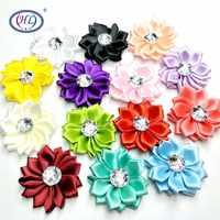 HL 10pcs/lot 35mm Lots Colors Satin Ribbon Flowers With Rhinestone Wedding Decorative Appliques