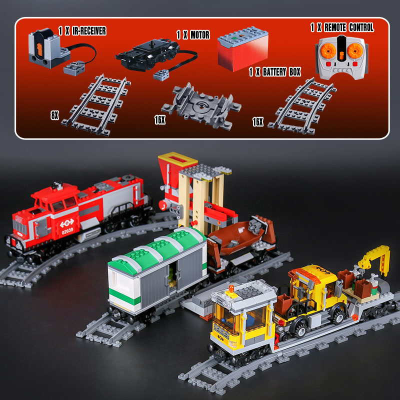 DHL 02039 Kid Toys Motor Function Train Compatible With 3677 Red Cargo Train Set Building Blocks