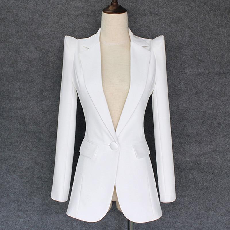 TOP QUALITY 2019 New Stylish Designer Blazer Women s Shrug Shoulder Single Button White Blazer Jacket