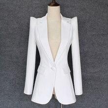 Женский блейзер с поднятыми плечами, белый блейзер на одной пуговице, новинка 2020
